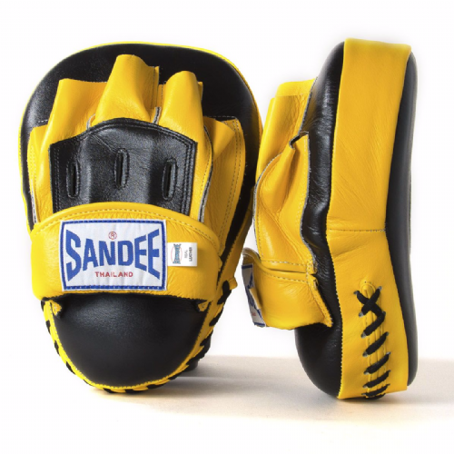 Sandee Curved Focus Mitts - Black/Yellow